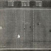 A screen shot of Skate-N-Score, an arcade video game by Sanders Associates 1975