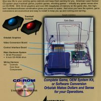 Page from flyer for Orbatak, an arcade video game by American Laser Games