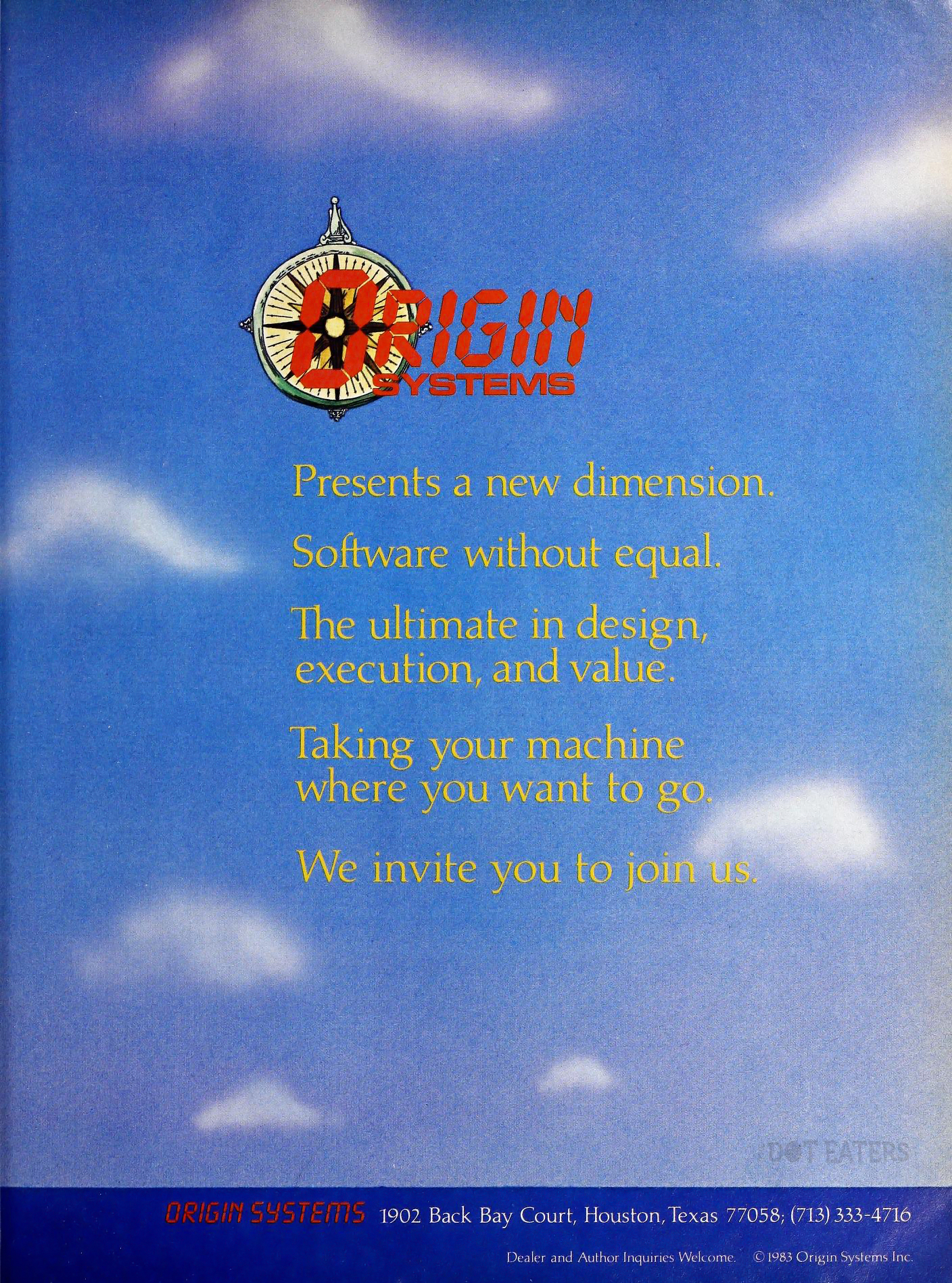 An ad announcing the formation of Origin, a computer video game company by Richard Garriott aka Lord British