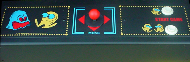 Image of the control panel for Pac-Man, an arcade video game by Namco/Midway 1980