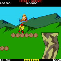 Screenshot of Pac-Land, an arcade video game by Namco/Midway 1984
