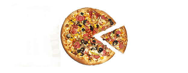 A pizza that looks like arcade video game character Pac-Man, 1980