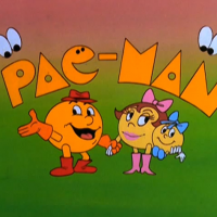 Image of titles for TV show featuring Pac-Man, an arcade video game by Namco/Midway 1980