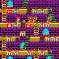 Screenshot of Mr. Do's Castle, an arcade video game by Universal 1980
