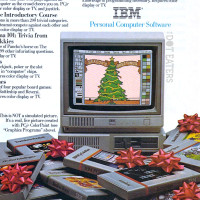 Ad for IBM PCjr, featuring King's Quest, a computer adventure game by Sierra, 1984