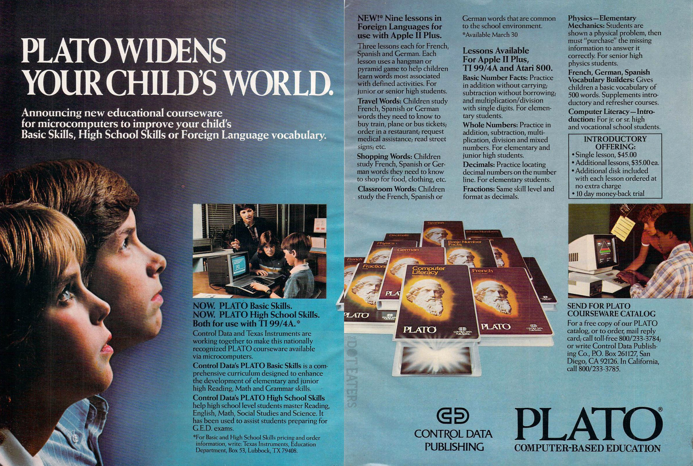Ad for PLATO, a computer-based educational system by Control Data, 1983
