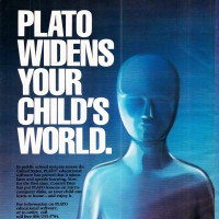 Ad for PLATO, computer-based educational system by Control Data Corp., 1982