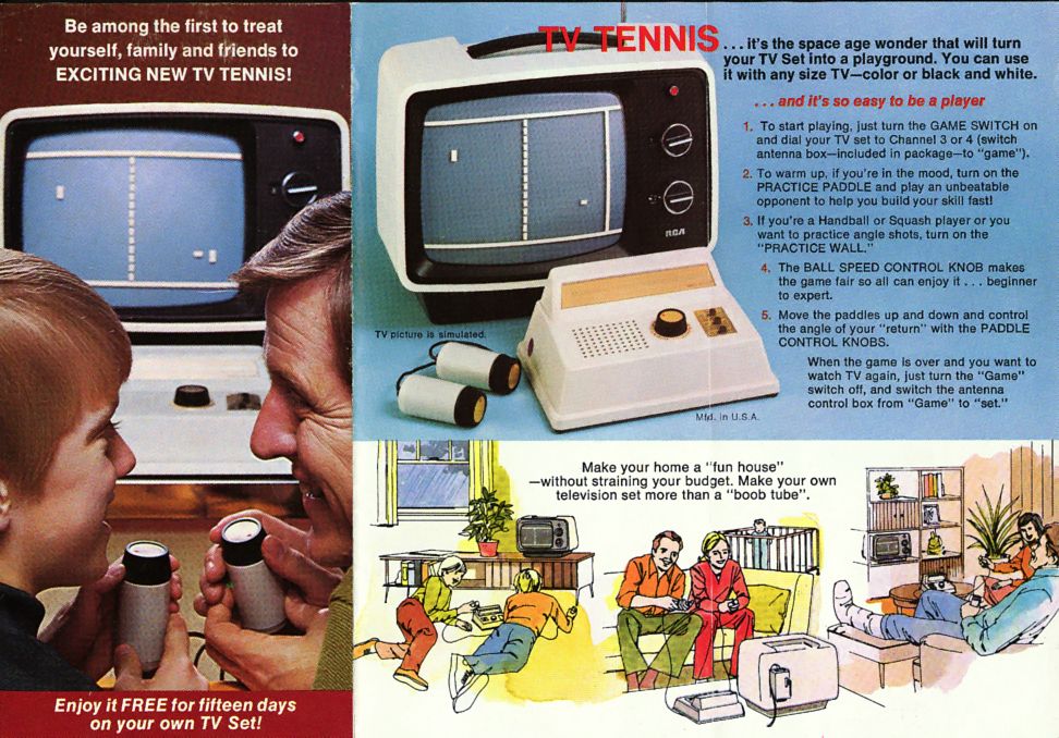 Ad for a clone of PONG, a home video game by Atari