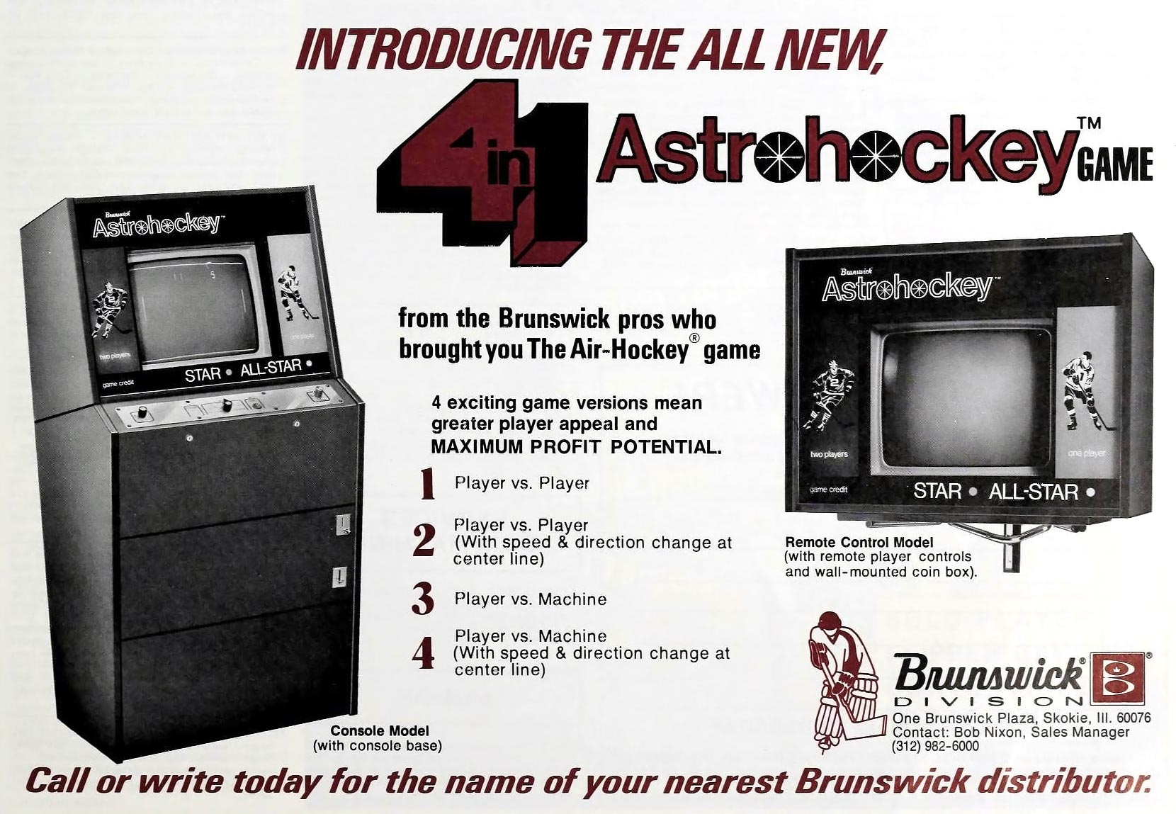 Brunswick Astrohockey, a pong-type arcade video game