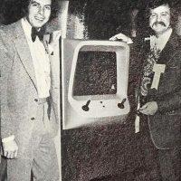 Nolan Bushnell and Pat Karns selling Gotcha, an arcade video game by Atari
