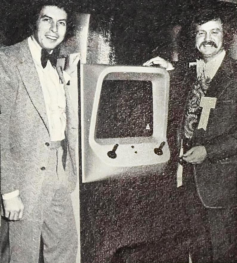 Nolan Bushnell and Pat Karns selling Gotcha, an arcade video game by Atari