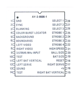 """Pinouts for the GI AY-3-8606-1 """"PONG-On-A-Chip"""" IC"""
