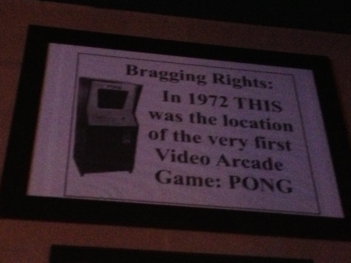Sign commemorating the first installation of PONG, an arcade video game by Atari 1972