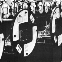 Tank arcade game assembly line at Atari manufacturing plant, Los Gatos