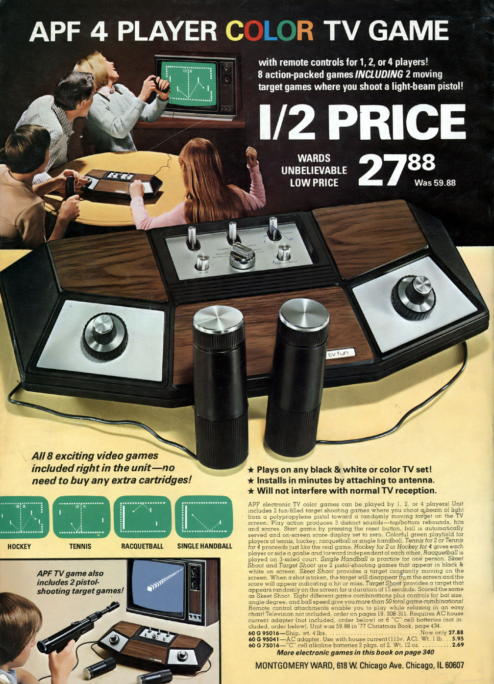 APF pong game in the pages of the 1978 Montgomery Wards Xmas catalog