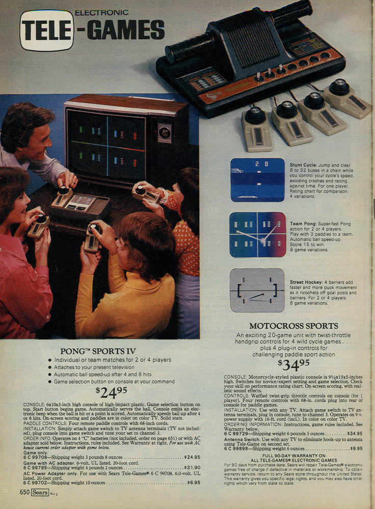 1979 Sears X-Mas Wishbook featuring PONG games