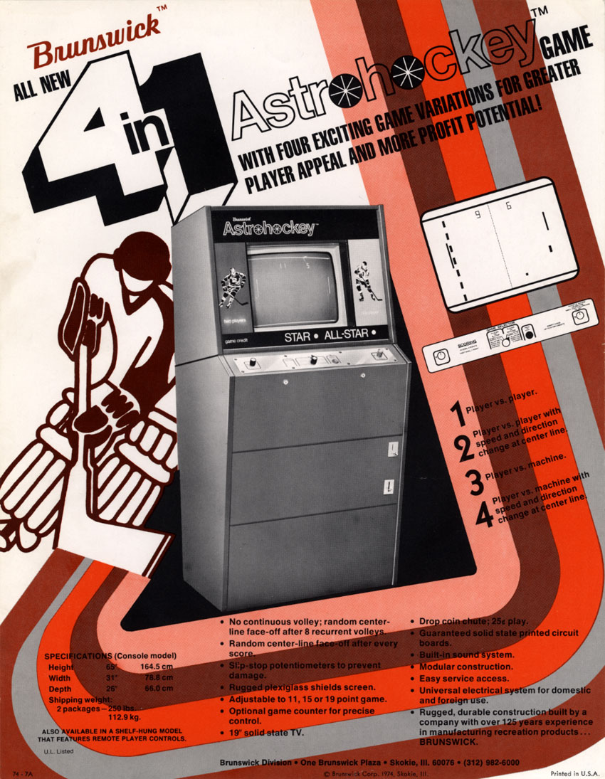 Flyer for Astro Hockey, an arcade video game by Brunswick 1973