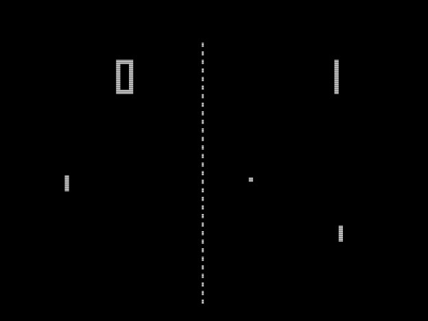 PONG, a simple arcade game, two paddles knocking a square blip back and forth over a dotted line representing a net
