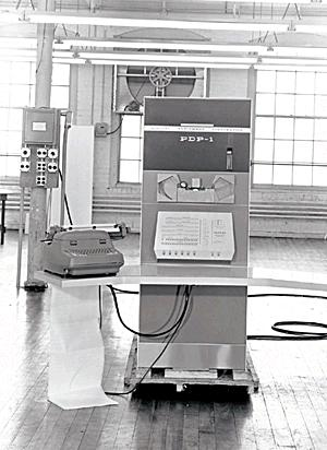 An image of A PDP-1 minicomputer, the same model used in the creation of Spacewar!