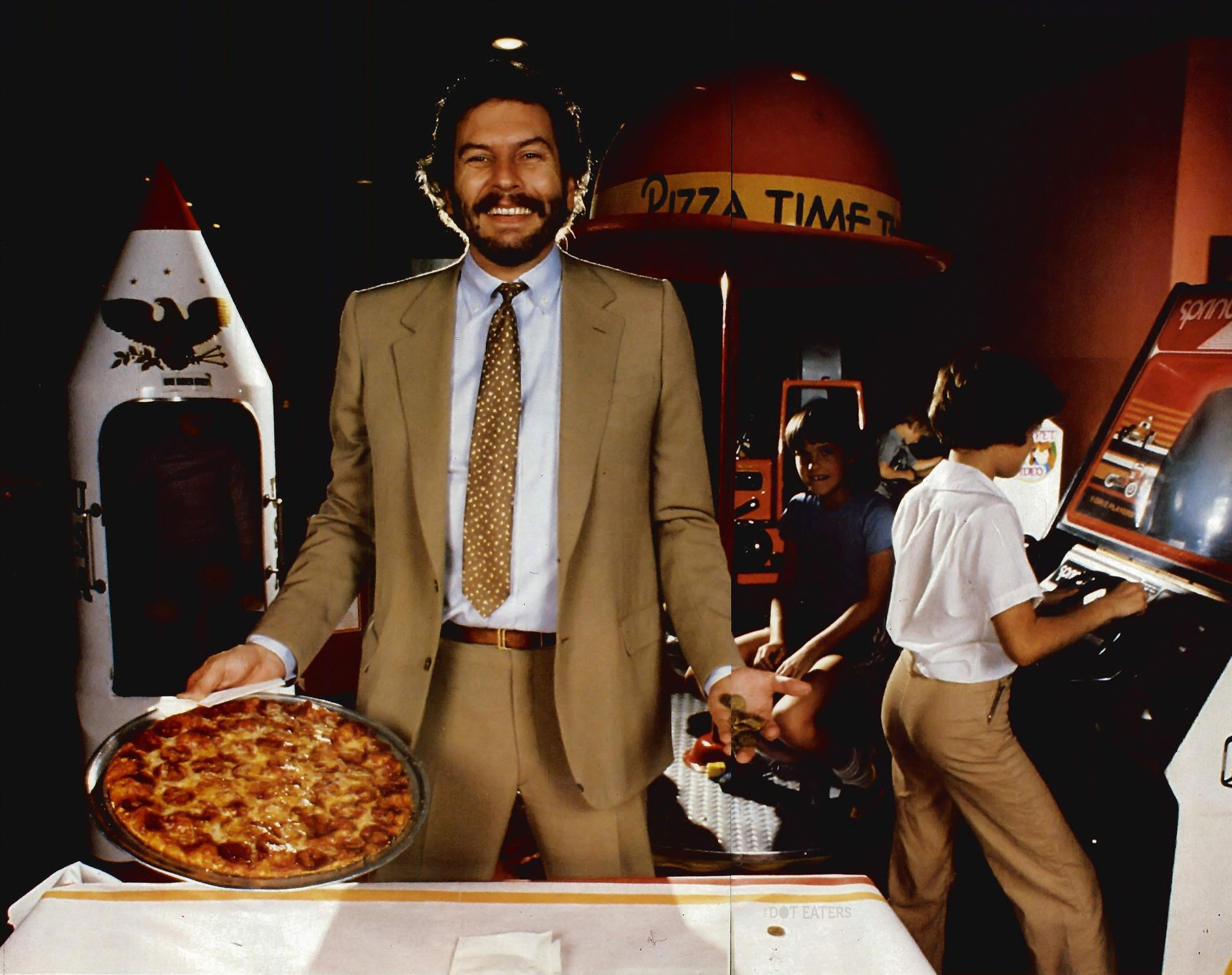 1984 image of Nolan Bushnell, founder of Atari and Chuck E. Cheese
