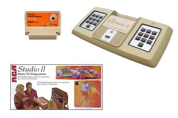 Image of the Studio II and accoutrement, a home video game system by RCA 1976