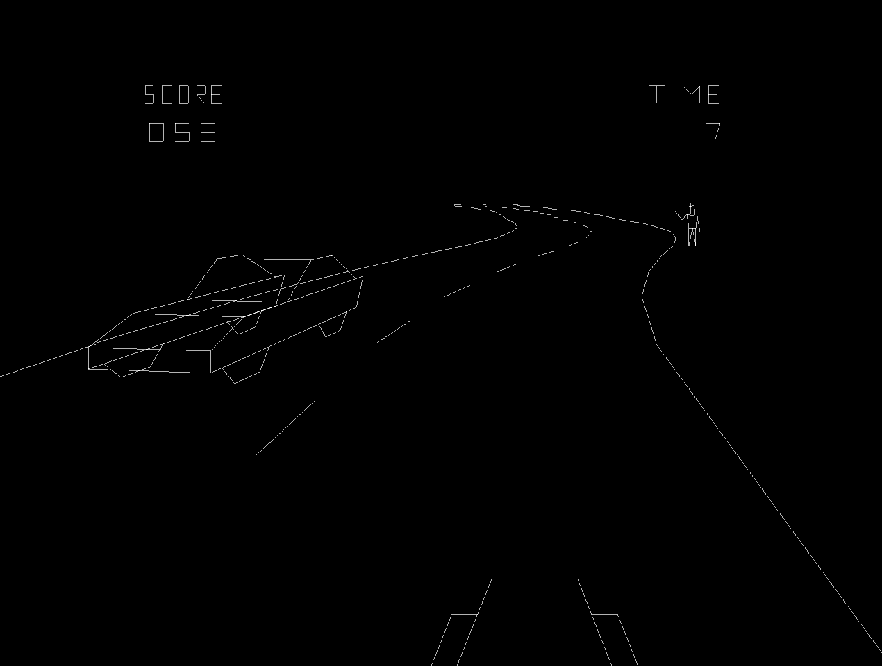 Gameplay image of Speed Freak, a vector arcade video game by Vectorbeam 1977