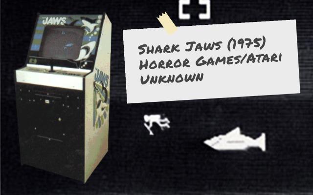 Atari video arcade game Shark Jaws cabinet and game characters