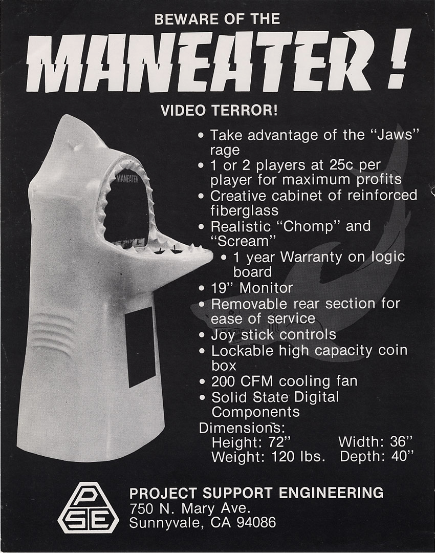 Sales flyer for Maneater, an arcade video game by PSE 1975