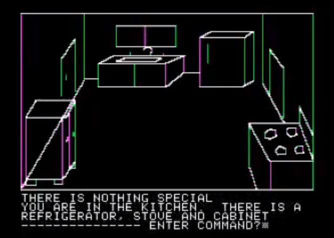 Snap of Mystery House, a graphic adventure game by On-Line Systems 1980