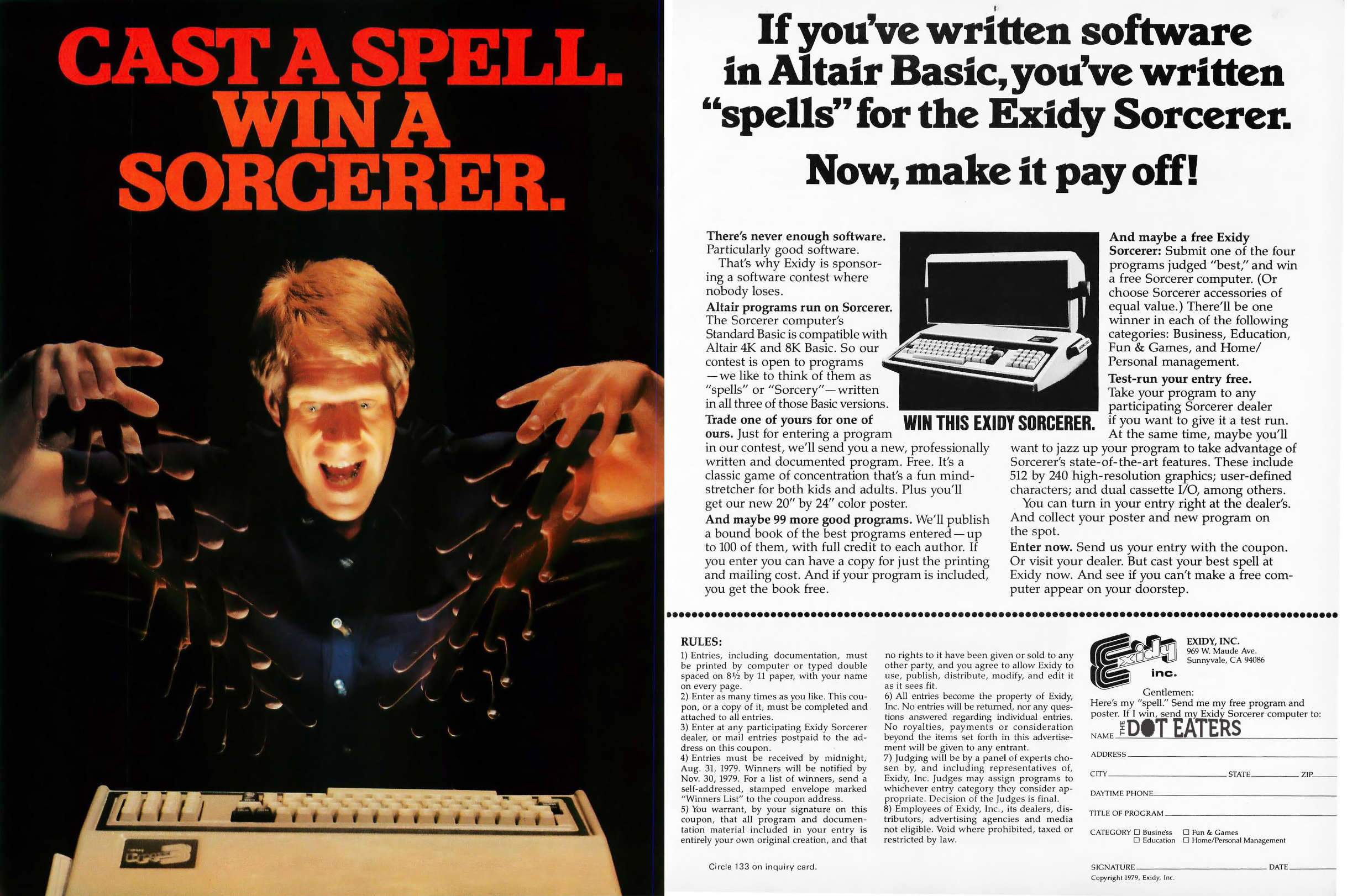 1979 ad for a contest involving the Exidy Sorcerer, an early personal computer by arcade video game maker Exidy