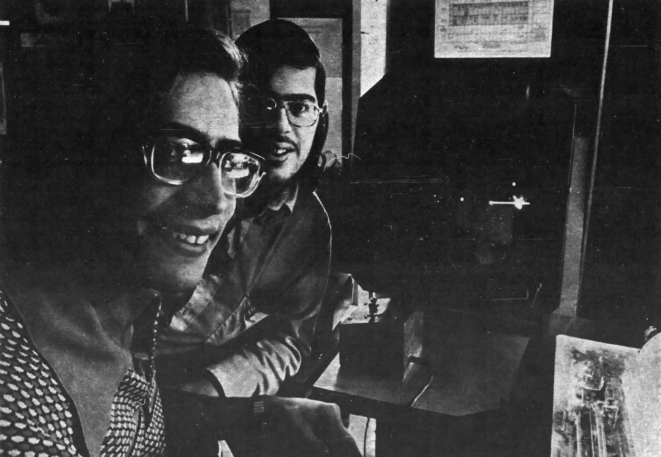 Spacewar players Ken Harrenstein and Gary Palter, 1974