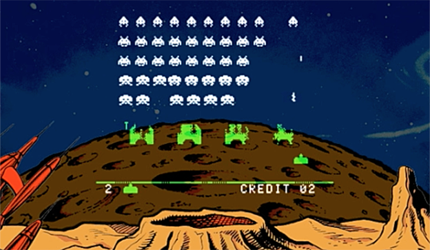 A screenshot of the arcade video game Space Invaders.