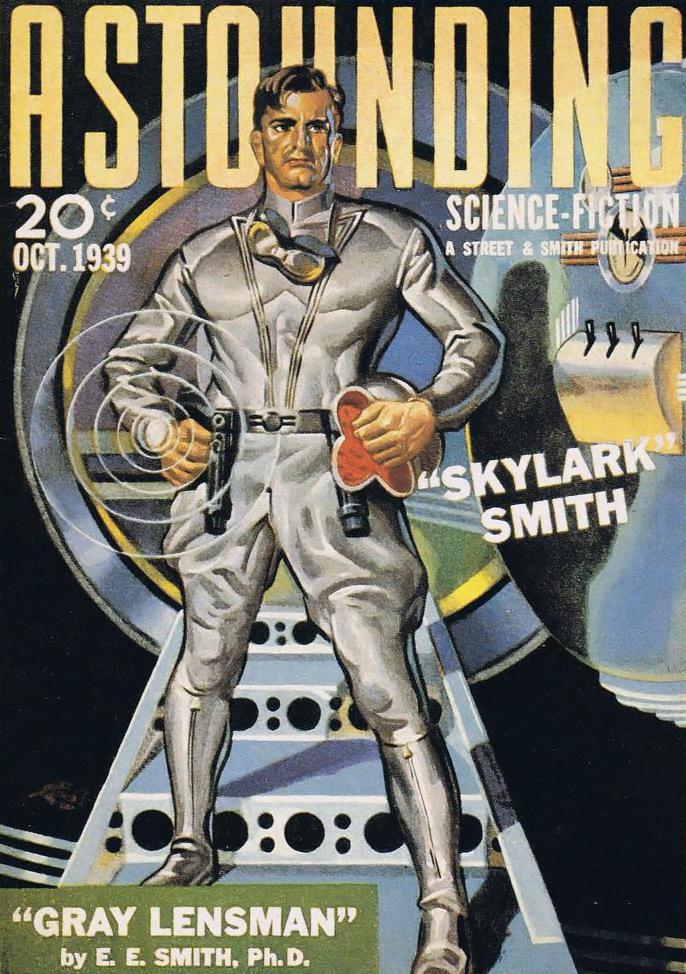 Gray Lensmen, a story by E.E. Smith as shown on the cover of Astounding Magazine, 1939