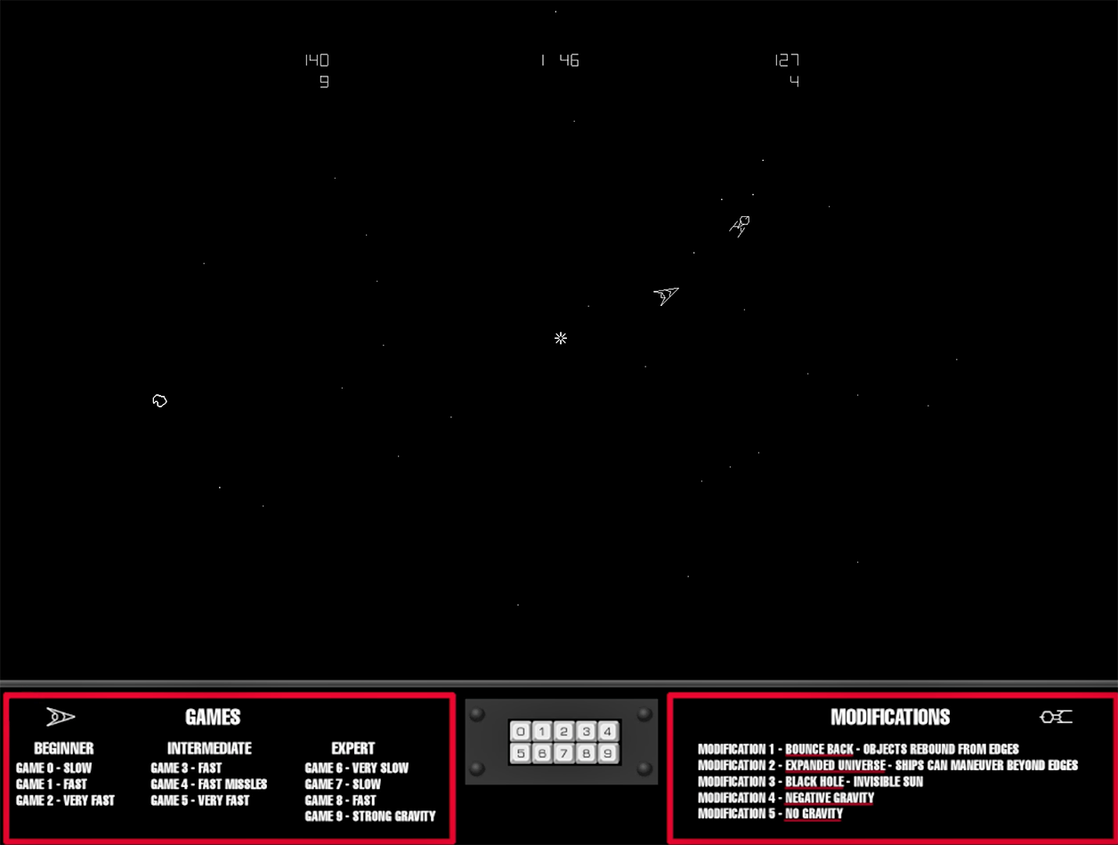 A screenshot from Space Wars, an arcade video game by Cinematronics 1977