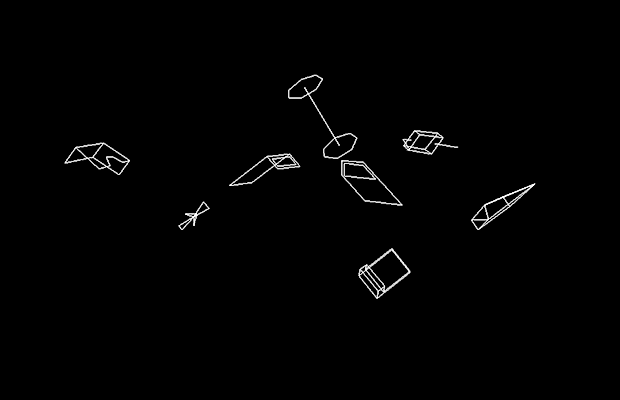 Image of a car exploding in Speed Freak, a vector arcade video game by Vectorbeam 1977
