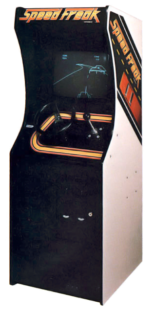 Cabinet for Speed Freak, a vector arcade video game by Vectorbeam 1977