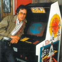 Movie director Steven Spielberg, with Atari Missile Command arcade video game