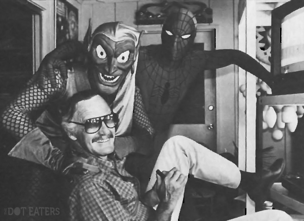 Marvel founder Stan Lee plays Spider-Man on the Atari 2600, accompanied by the Green Goblin and Spider-Man, 1983