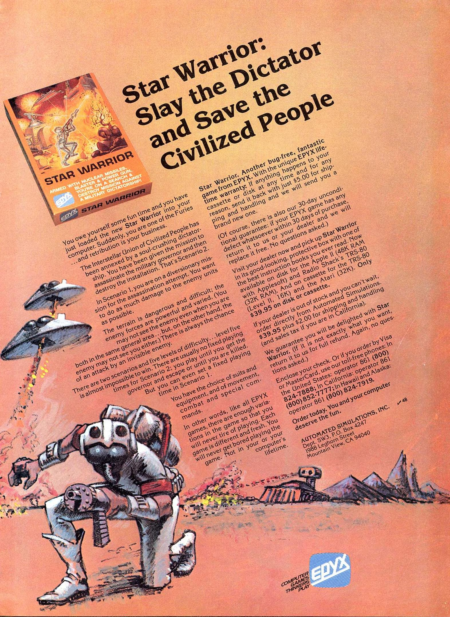 Star Warrior, a computer game by Epyx/Automated Simulations