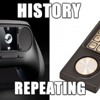 Meme featuring the Steam Controller and Intellivision controller