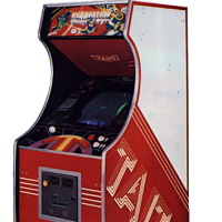 Cabinet for Stratovox, an arcade video game by Taito 1980