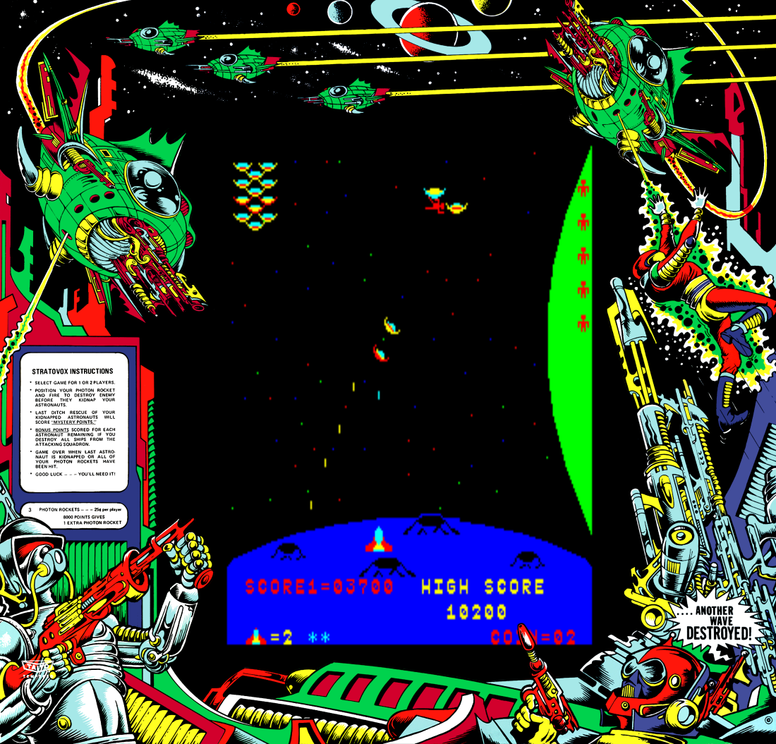 Screenshot from Stratovox, an arcade video game by Taito 1980