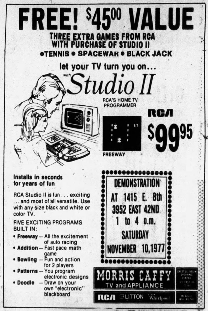 Ad for the Studio II, a home video game console by RCA