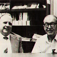 David Potter (left) and William Higinbotham, designers of an early video game system, in 1983
