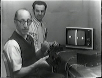 Click image to see footage of Baer demoing his electronic ping pong game in 1969