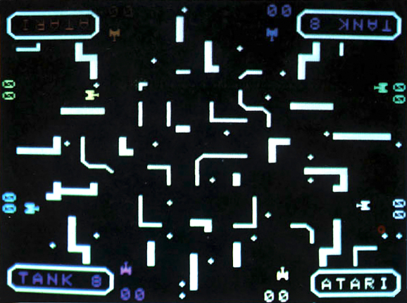 Screenshot from Tank 8, an arcade video game by Kee Games, 1976