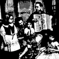 Image of Higinbotham regaling his family with the accordion