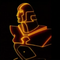 Early image of the character featured in Tron, a video game themed movie by Disney 1982