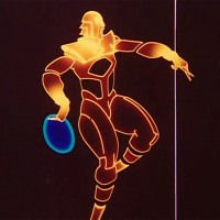 An early illustration of Tron, a character from the video game themed movie by Disney 1982