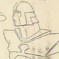 Drawing of original character from Tron, a video game themed movie by Disney 1982